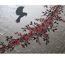picture of a bird with red grey gray silver black blossom and leaves Photographic Print