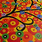 Red yellow green orange blue and black circle tree by cathyjacobs