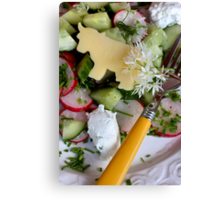 Housemade Cheese and Wild Garlic Blossom Dressing With Salad Canvas Print