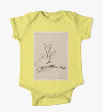 Buildings and large tree on the waterfront with two boats anchored offshore 001 One Piece - Short Sleeve