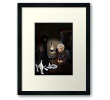 granny by lamplight Framed Print