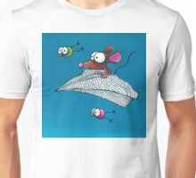 Mouse in a paper aeroplane Unisex T-Shirt