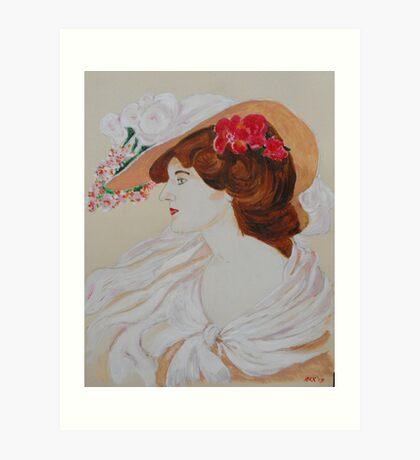 Belle Femme au Chapeau Fleuri Art Print