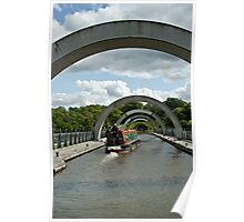 Boat Transiting the Falkirk Wheel in Scotland Poster