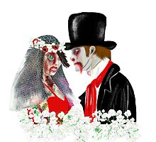 Zombie Bride and Groom Art by LeahG by LeahG Artist