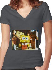 SpongeBob always loves the group hugs Women's Fitted V-Neck T-Shirt