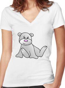 White Teddy Bear Women's Fitted V-Neck T-Shirt