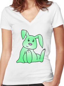 Green Bunny Rabbit Women's Fitted V-Neck T-Shirt