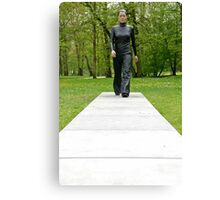A walk in the park (Walking Woman by Sean Henry) Canvas Print