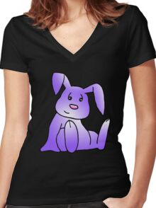 Purple Bunny Rabbit Women's Fitted V-Neck T-Shirt
