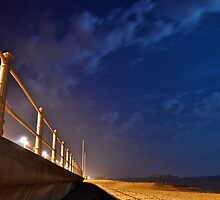 Hastings Beach at Night by LB Copleston