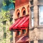 Red Awnings on Brownstone Hoboken NJ by Susan Savad
