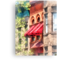 Red Awnings on Brownstone Hoboken NJ Canvas Print