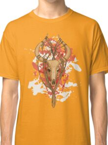 colorful image of animal skull with horns in graphic style decorated with ropes Classic T-Shirt