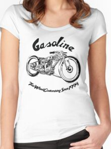 Gasoline Scooters & Motorcycles Line Drawing Women's Fitted Scoop T-Shirt