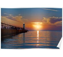 Manistee North Pierhead Lighthouse at Sunset Poster