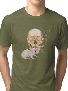 a skull with fuming cigar and a rat Tri-blend T-Shirt