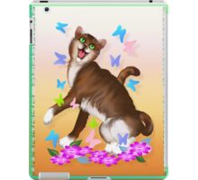 Happy Orange Cat and Soft Butterflies iPad Case/Skin