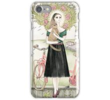 Girl and a cat with pink bicycle iPhone Case/Skin