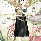 Girl and a cat with pink bicycle by Yuliya Art