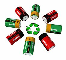 Rechargeable batterys and recycling symbol by mypic2sell