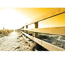 snow covered freezing path on cliff fenced walk at sunset Photographic Print