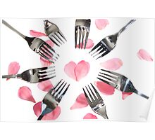 forks surrounding heart shape with rose petals Poster