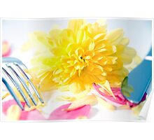 knife and fork isolated with dahlia and rose petals Poster