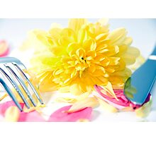 knife and fork isolated with dahlia and rose petals Photographic Print