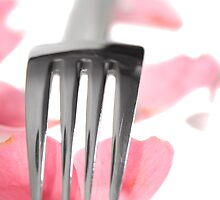 silver service fork isolated with rose petals by morrbyte