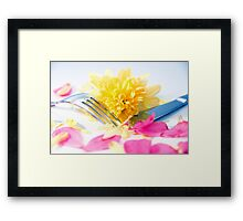 silver knife and fork isolated with dahlia and rose petals Framed Print