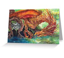 Golden Dragon at the Pond Greeting Card