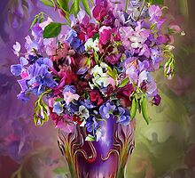 Sweet Peas In Sweet Pea Vase by Carol  Cavalaris