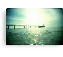 Jetty At The Glistening Sea - Lomo Canvas Print