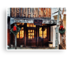 Whiskey Flat Saloon Western Watercolor Canvas Print