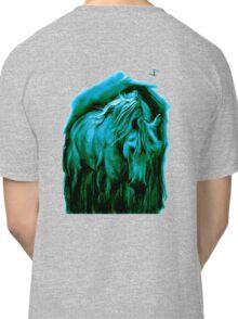 Equine T' Shirt 4 - Grazing Horse - Blue print Classic T-Shirt