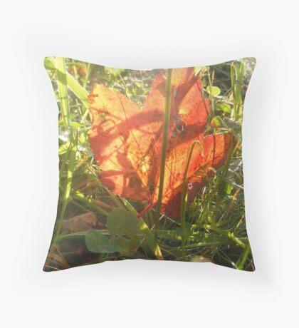 Illuminated Leaf. Throw Pillow