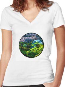 Earth Yin yang Women's Fitted V-Neck T-Shirt