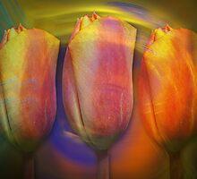 Sunshine Tulips, floral fractal art by walstraasart