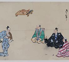 Kyōgen play with four characters two wear hats one possibly portraying a woman there is a fish with carving knife on tray in the background 001 by wetdryvac