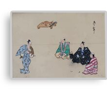 Kyōgen play with four characters two wear hats one possibly portraying a woman there is a fish with carving knife on tray in the background 001 Canvas Print