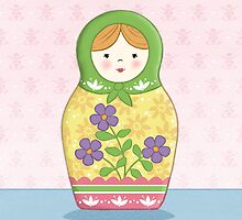 Matryoshka Doll Green by amalou