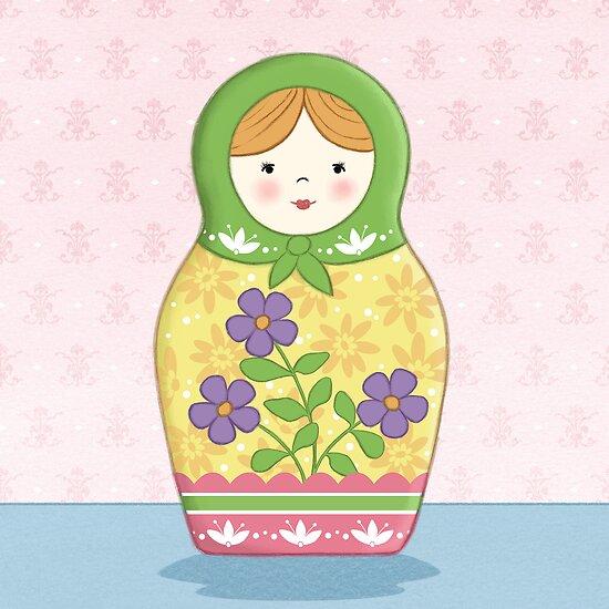 Matryoshka Doll Green by amalou