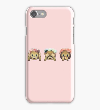 Monkey See No Evil Hipster Flower Crown Emoji iPhone Case/Skin