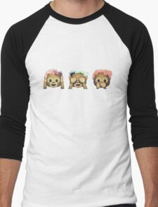 Monkey See No Evil Hipster Flower Crown Emoji Men's Baseball ¾ T-Shirt
