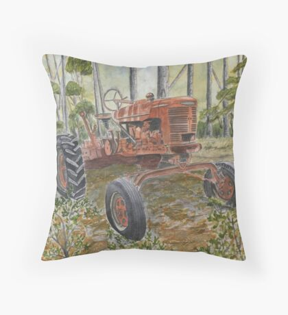old farm tractor antique Throw Pillow