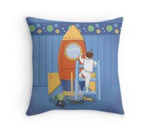 Goodnight, I'm going to my Space Rocket Throw Pillow