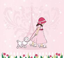 Paris Girl & Poodle Eiffle Tower by Amanda Francey