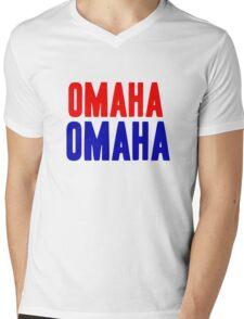 OMAHA OMAHA! (blue and red) Mens V-Neck T-Shirt