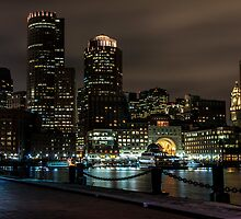Boston Harbor at night by Gleb Zverinskiy
